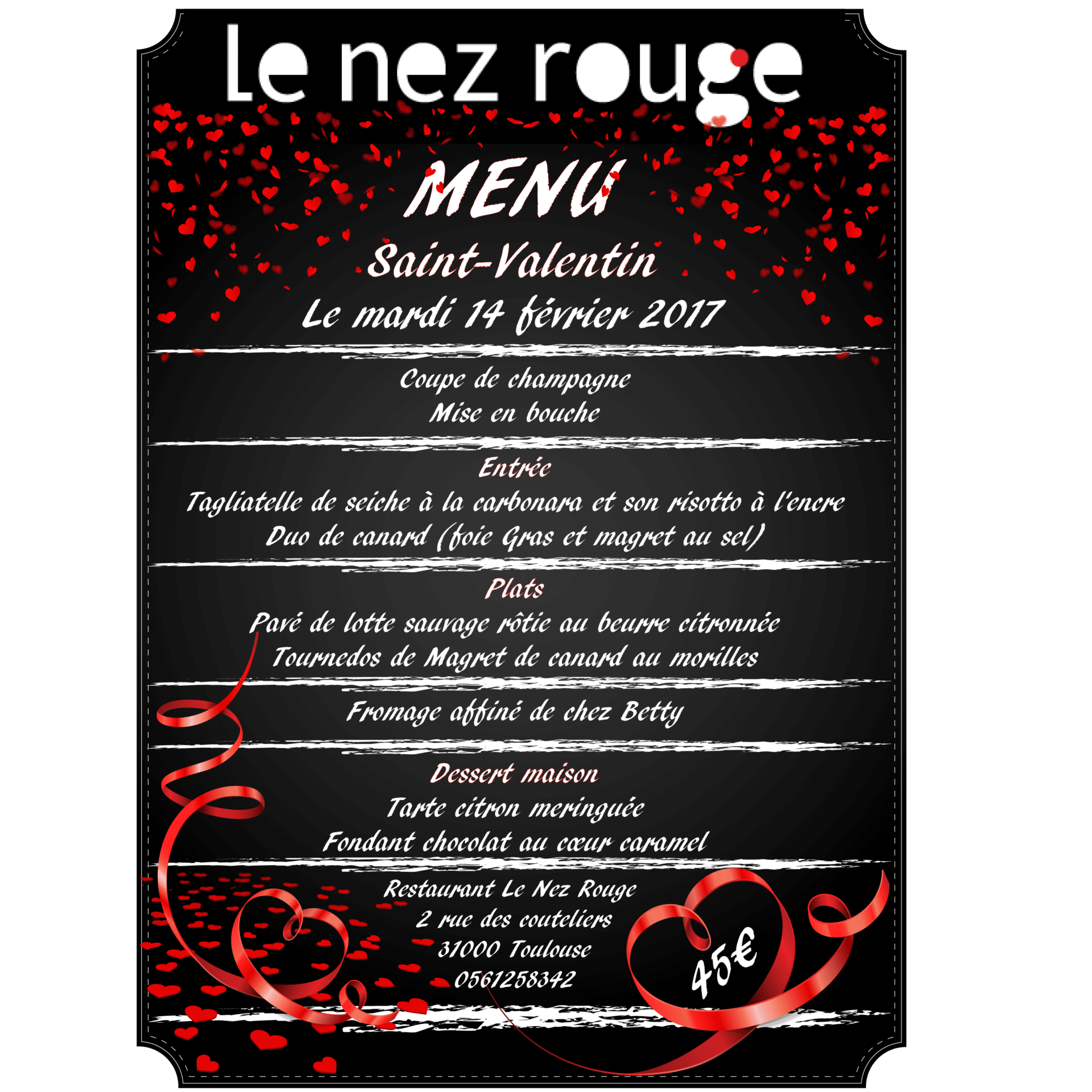 Notre menu pour la saint valentin 2017 nez rouge - La saint valentin 2017 ...